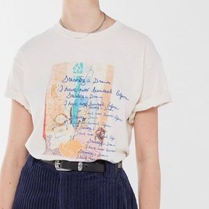 Urban Outfitters Women's Shortsleeved Cream Top